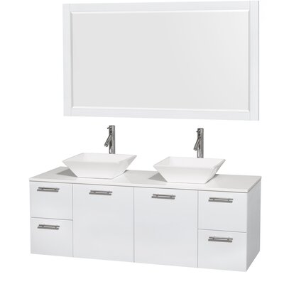 Amare 60 Double White Bathroom Vanity Set with Mirror Sink Finish: White Porcelain, Top Finish: White Man-Made Stone