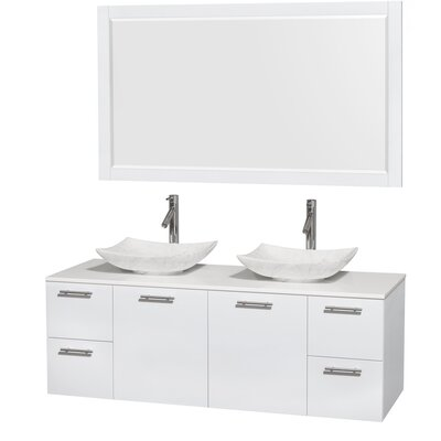Amare 60 Double White Bathroom Vanity Set with Mirror Sink Finish: Arista White Carrera Marble, Top Finish: White Man-Made Stone