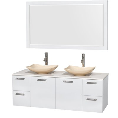 Amare 60 Double White Bathroom Vanity Set with Mirror Sink Finish: Arista Ivory Marble, Top Finish: White Man-Made Stone