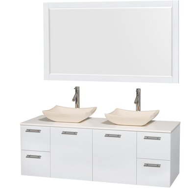 Amare 60 Double White Bathroom Vanity Set with Mirror Sink Finish: Avalon Ivory Marble, Top Finish: White Man-Made Stone