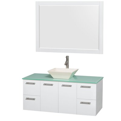Amare 48 Single White Bathroom Vanity Set with Mirror Sink Finish: Altair Black Granite, Top Finish: Green Glass