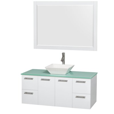 Amare 48 Single White Bathroom Vanity Set with Mirror Sink Finish: White Porcelain, Top Finish: Green Glass