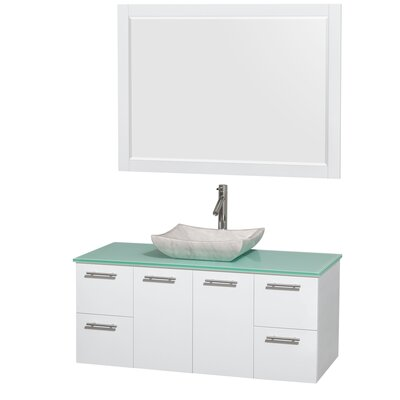 Amare 48 Single White Bathroom Vanity Set with Mirror Sink Finish: Avalon White Carrera Marble, Top Finish: Green Glass