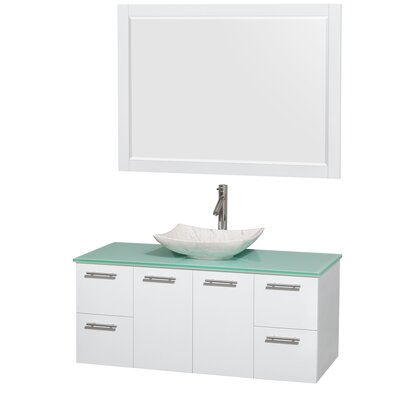 Amare 48 Single White Bathroom Vanity Set with Mirror Sink Finish: Arista White Carrera Marble, Top Finish: Green Glass