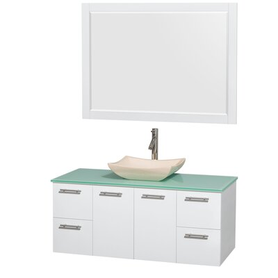 Amare 48 Single White Bathroom Vanity Set with Mirror Sink Finish: Avalon Ivory Marble, Top Finish: Green Glass