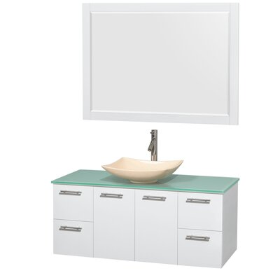 Amare 48 Single White Bathroom Vanity Set with Mirror Sink Finish: Arista Ivory Marble, Top Finish: Green Glass
