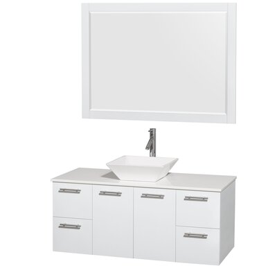 Amare 48 Single White Bathroom Vanity Set with Mirror Sink Finish: White Porcelain, Top Finish: White Man-Made Stone