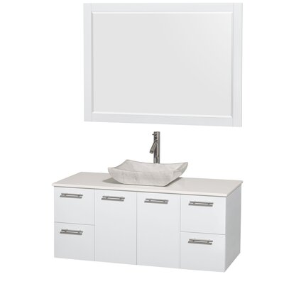 Amare 48 Single White Bathroom Vanity Set with Mirror Sink Finish: Avalon White Carrera Marble, Top Finish: White Man-Made Stone
