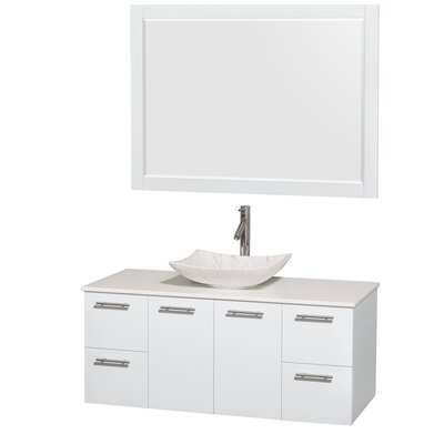 Amare 48 Single White Bathroom Vanity Set with Mirror Sink Finish: Arista White Carrera Marble, Top Finish: White Man-Made Stone