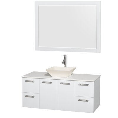 Amare 48 Single White Bathroom Vanity Set with Mirror Sink Finish: Bone Porcelain, Top Finish: White Man-Made Stone