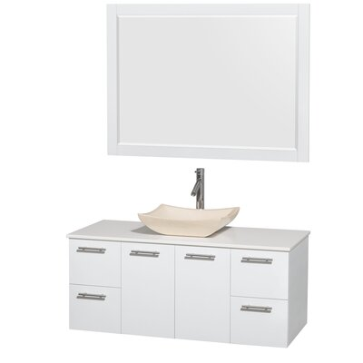 Amare 48 Single White Bathroom Vanity Set with Mirror Sink Finish: Avalon Ivory Marble, Top Finish: White Man-Made Stone