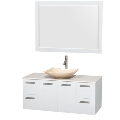 Amare 48 Single White Bathroom Vanity Set with Mirror Sink Finish: Arista Ivory Marble, Top Finish: White Man-Made Stone