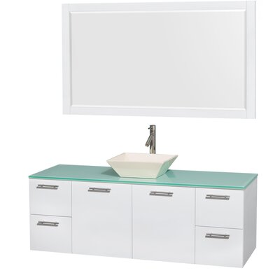 Amare 60 Single White Bathroom Vanity Set with Mirror Sink Finish: Arista Black Granite, Top Finish: Green Glass