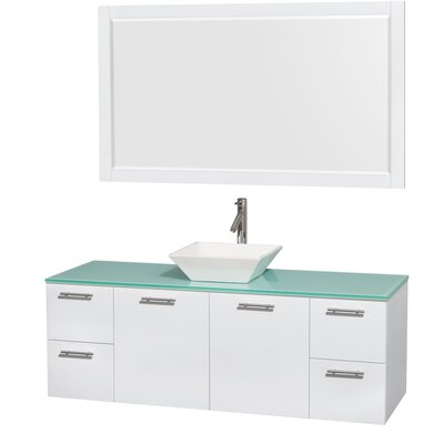 Amare 60 Single White Bathroom Vanity Set with Mirror Sink Finish: White Porcelain, Top Finish: Green Glass
