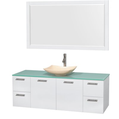 Amare 60 Single White Bathroom Vanity Set with Mirror Sink Finish: Arista Ivory Marble, Top Finish: Green Glass