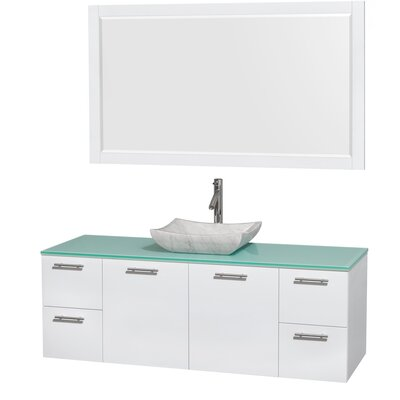 Amare 60 Single White Bathroom Vanity Set with Mirror Sink Finish: Avalon White Carrera Marble, Top Finish: Green Glass