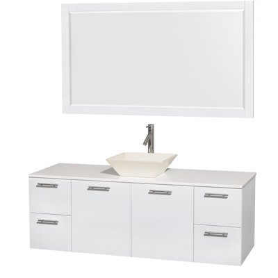 Amare 60 Single White Bathroom Vanity Set with Mirror Sink Finish: Bone Porcelain, Top Finish: White Man-Made Stone