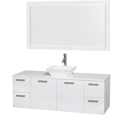 Amare 60 Single White Bathroom Vanity Set with Mirror Sink Finish: White Porcelain, Top Finish: White Man-Made Stone