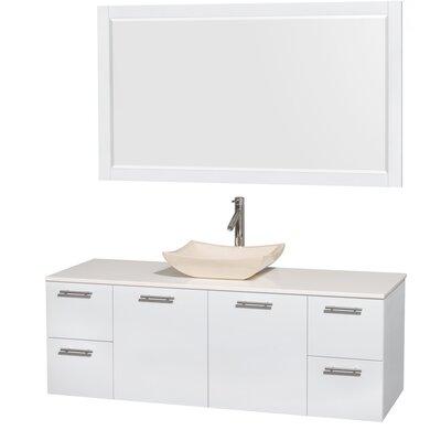Amare 60 Single White Bathroom Vanity Set with Mirror Sink Finish: Avalon Ivory Marble, Top Finish: White Man-Made Stone