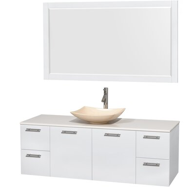 Amare 60 Single White Bathroom Vanity Set with Mirror Sink Finish: Arista Ivory Marble, Top Finish: White Man-Made Stone