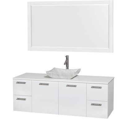 Amare 60 Single White Bathroom Vanity Set with Mirror Sink Finish: Avalon White Carrera Marble, Top Finish: White Man-Made Stone