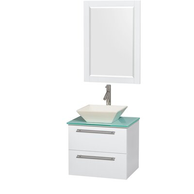 Amare 24 Single White Bathroom Vanity Set with Mirror Sink Finish: Bone Porcelain, Top Finish: Green Glass