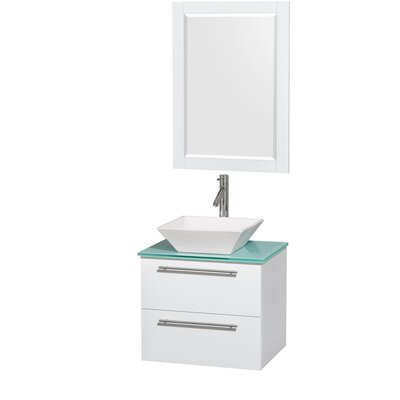 Amare 24 Single White Bathroom Vanity Set with Mirror Sink Finish: White Porcelain, Top Finish: Green Glass