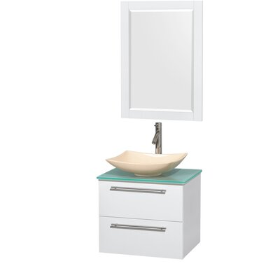 Amare 24 Single White Bathroom Vanity Set with Mirror Sink Finish: Arista Ivory Marble, Top Finish: Green Glass