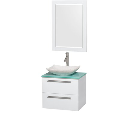 Amare 24 Single White Bathroom Vanity Set with Mirror Sink Finish: Arista White Carrera Marble, Top Finish: Green Glass