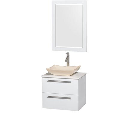 Amare 24 Single White Bathroom Vanity Set with Mirror Sink Finish: Avalon Ivory Marble, Top Finish: White Man-Made Stone