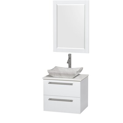 Amare 24 Single White Bathroom Vanity Set with Mirror Sink Finish: Avalon White Carrera Marble, Top Finish: White Man-Made Stone