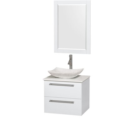 Amare 24 Single White Bathroom Vanity Set with Mirror Sink Finish: Arista White Carrera Marble, Top Finish: White Man-Made Stone