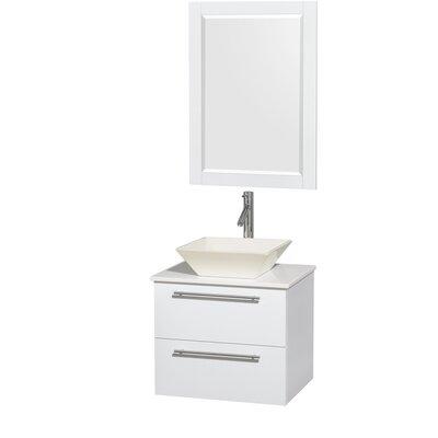 Amare 24 Single White Bathroom Vanity Set with Mirror Sink Finish: Bone Porcelain, Top Finish: White Man-Made Stone