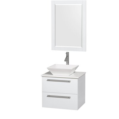 Amare 24 Single White Bathroom Vanity Set with Mirror Sink Finish: White Porcelain, Top Finish: White Man-Made Stone