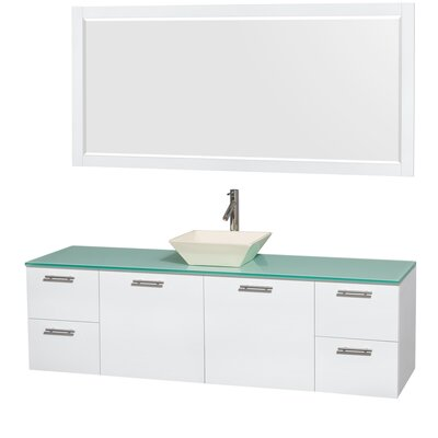 Amare 72 Single White Bathroom Vanity Set with Mirror Sink Finish: Bone Porcelain, Top Finish: Green Glass