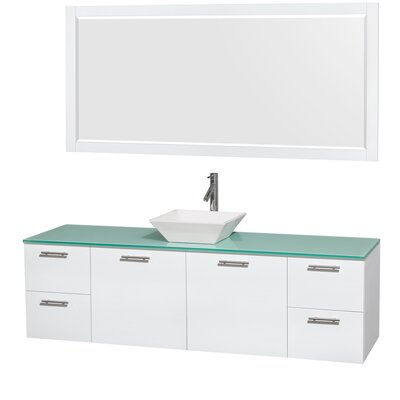 Amare 72 Single White Bathroom Vanity Set with Mirror Sink Finish: White Porcelain, Top Finish: Green Glass