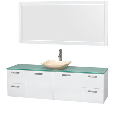 Amare 72 Single White Bathroom Vanity Set with Mirror Sink Finish: Arista Ivory Marble, Top Finish: Green Glass