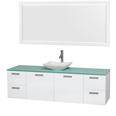 Amare 72 Single White Bathroom Vanity Set with Mirror Sink Finish: Arista White Carrera Marble, Top Finish: Green Glass