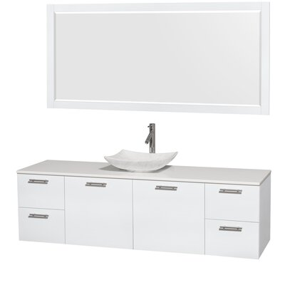 Amare 72 Single White Bathroom Vanity Set with Mirror Sink Finish: Arista White Carrera Marble, Top Finish: White Man-Made Stone