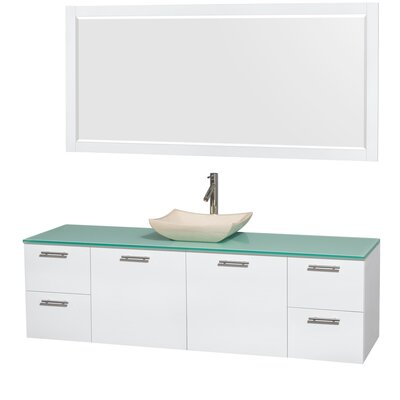 Amare 72 Single White Bathroom Vanity Set with Mirror Sink Finish: Avalon Ivory Marble, Top Finish: Green Glass