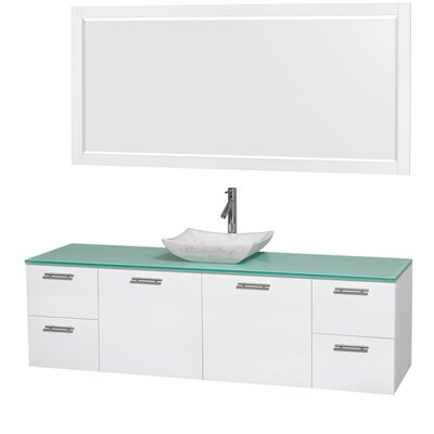Amare 72 Single White Bathroom Vanity Set with Mirror Sink Finish: Avalon White Carrera Marble, Top Finish: Green Glass