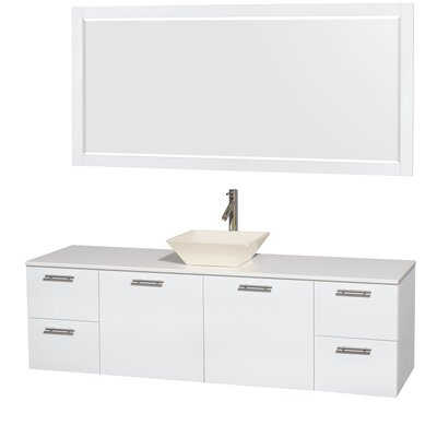 Amare 72 Single White Bathroom Vanity Set with Mirror Sink Finish: Bone Porcelain, Top Finish: White Man-Made Stone