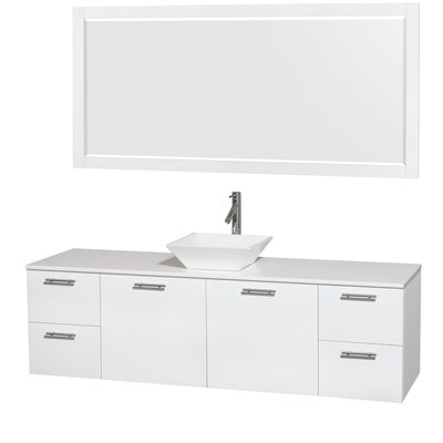 Amare 72 Single White Bathroom Vanity Set with Mirror Sink Finish: White Porcelain, Top Finish: White Man-Made Stone