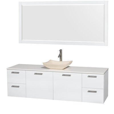 Amare 72 Single White Bathroom Vanity Set with Mirror Sink Finish: Avalon Ivory Marble, Top Finish: White Man-Made Stone