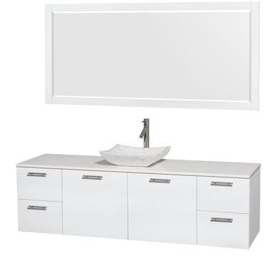 Amare 72 Single White Bathroom Vanity Set with Mirror Sink Finish: Avalon White Carrera Marble, Top Finish: White Man-Made Stone