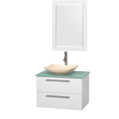 Amare 30 Single White Bathroom Vanity Set with Mirror Sink Finish: Arista Black Granite, Top Finish: Green Glass