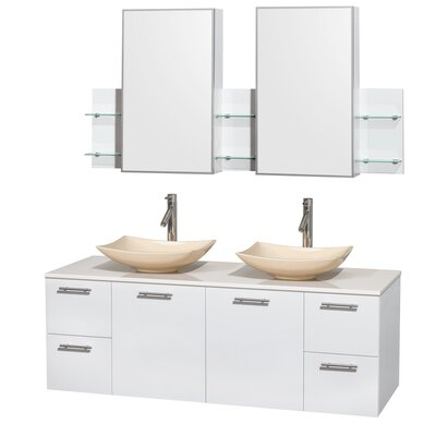 Amare 60 Double White Bathroom Vanity Set with Medicine Cabinet Sink Finish: Arista White Carrera Marble, Top Finish: Green Glass
