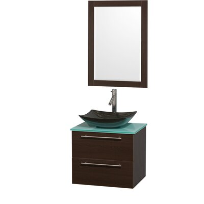 Amare 24 Single Espresso Bathroom Vanity Set with Mirror Sink Finish: White Carrera Marble, Top Finish: Green Glass