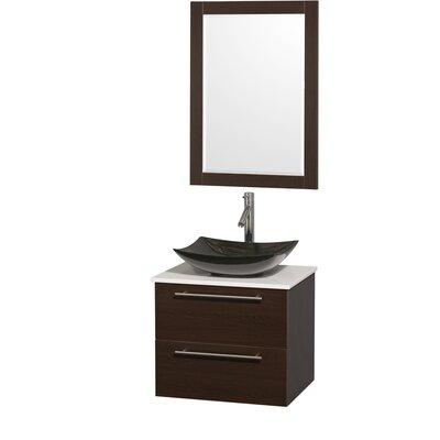 Amare 24 Single Espresso Bathroom Vanity Set with Mirror Sink Finish: Black Granite, Top Finish: White Man-Made Stone