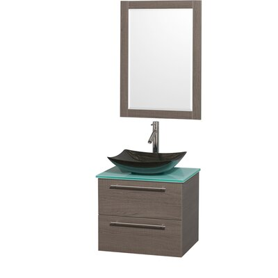 Amare 24 Single Gray Oak Bathroom Vanity Set with Mirror Sink Finish: Black Granite, Top Finish: Green Glass